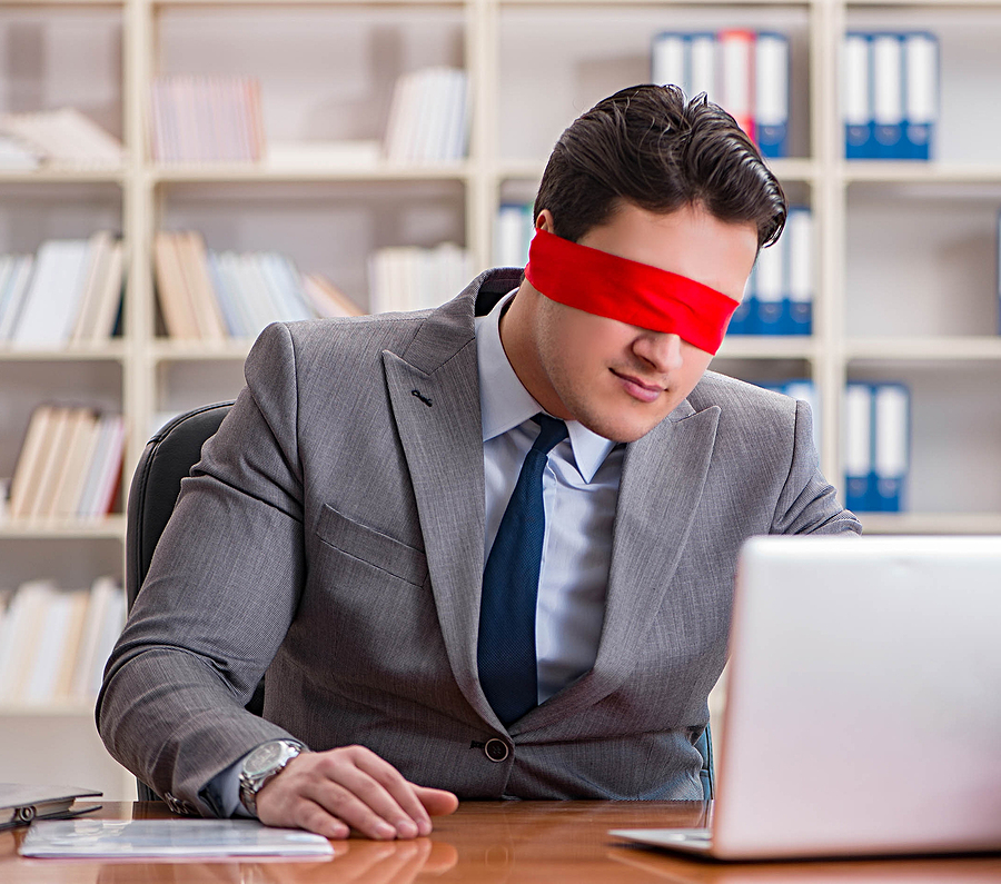 Man blindfolded at computer